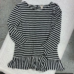 Tops - J.Crew Outlet Stripe and Ruffle Top Size Medium